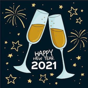 Hand drawn happy new year 2021 elegant glasses of champagne