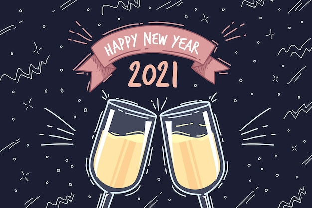 Felice anno nuovo 2021 bicchieri disegnati a mano con champagne
