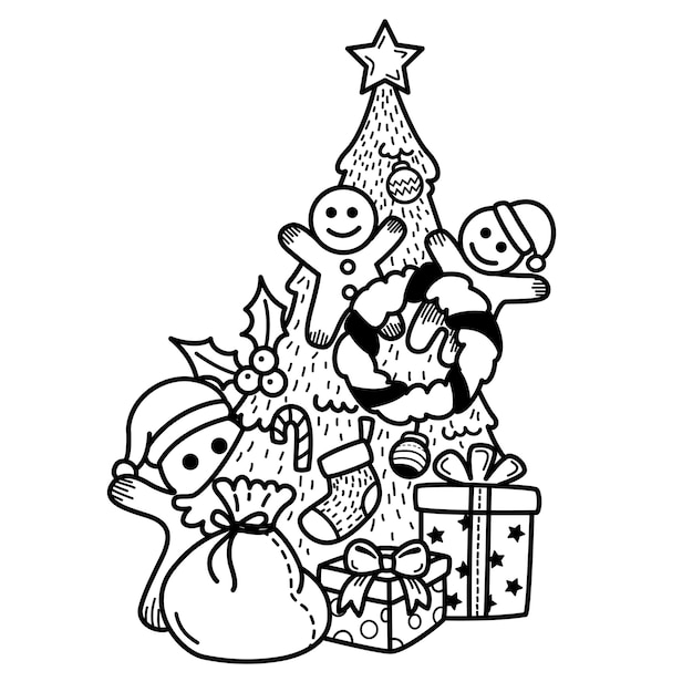 Hand drawn happy new year and merry christmas