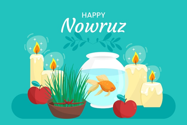 Hand drawn happy nowruz candles