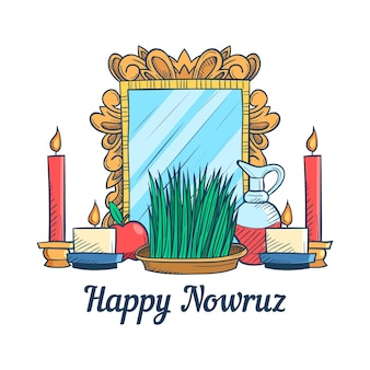 Hand drawn happy nowruz celebrating