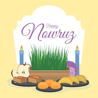 Hand drawn happy nowruz celebration
