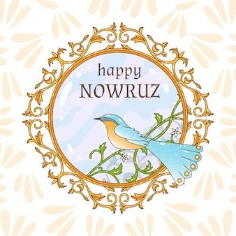 Hand-drawn happy nowruz day celebration
