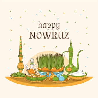 Hand-drawn happy nowruz day concept
