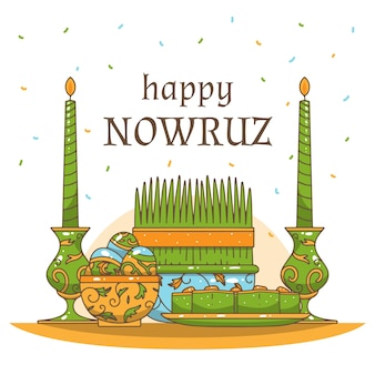 Hand-drawn happy nowruz day event