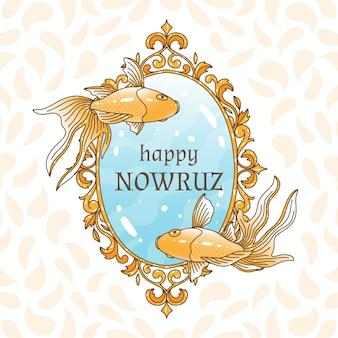 Hand-drawn happy nowruz day theme
