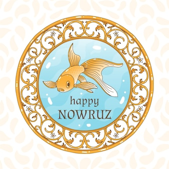 Hand-drawn happy nowruz day