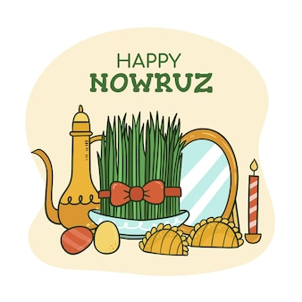 Hand drawn happy nowruz elements