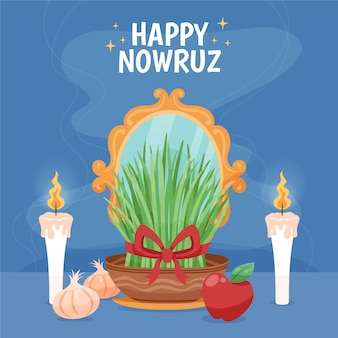 Hand drawn happy nowruz event