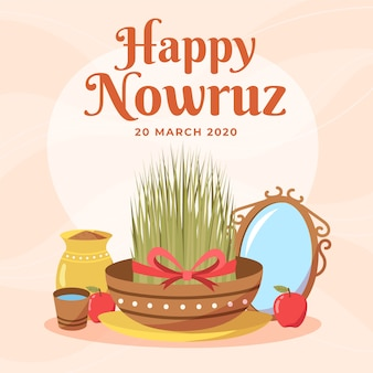 Hand drawn happy nowruz and grass in bowl