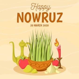 Hand drawn happy nowruz and grass with candle
