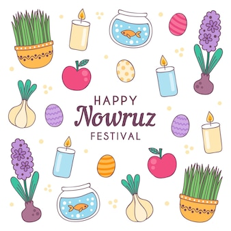 Hand-drawn happy nowruz illustration with elements