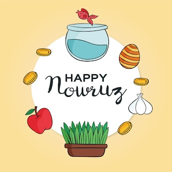 Hand-drawn happy nowruz illustration with fishbowl and sprouts