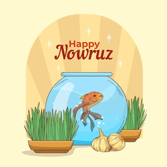 Hand-drawn happy nowruz illustration with goldfish bowl and sprouts