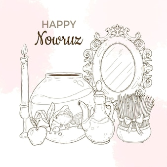 Hand-drawn happy nowruz illustration with mirror and fishbowl