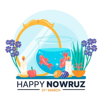Hand-drawn happy nowruz illustration with mirror and goldfish bowl