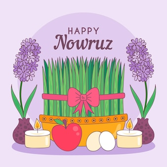 Hand-drawn happy nowruz illustration with sprouts