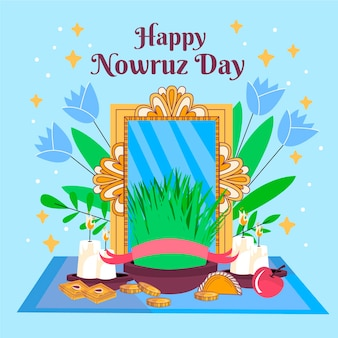Hand drawn happy nowruz illustration