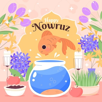 Hand-drawn happy nowruz illustration