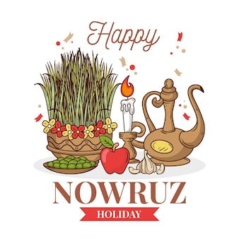 Hand drawn happy nowruz items