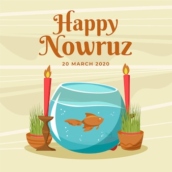 Hand drawn happy nowruz and talk with fish