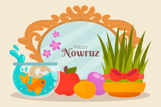 Hand drawn happy nowruz
