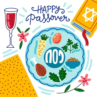 Hand-drawn happy passover concept
