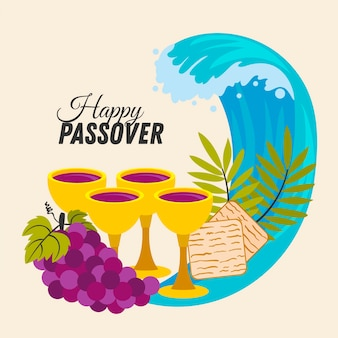 Hand-drawn happy passover event