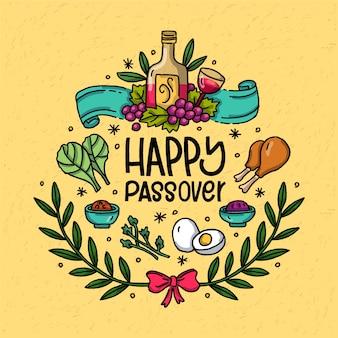 Hand drawn happy passover festival