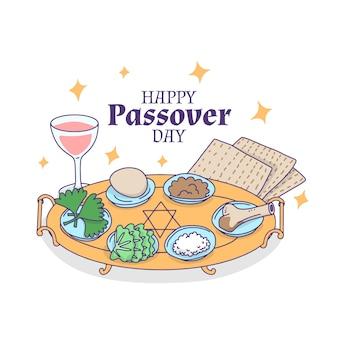 Hand-drawn happy passover theme