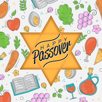 Hand drawn happy passover
