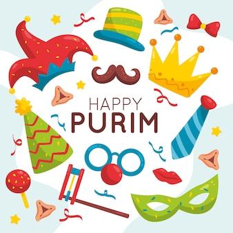 Hand-drawn happy purim day concept