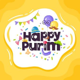 Hand drawn happy purim day
