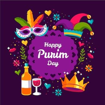 Hand-drawn happy purim day