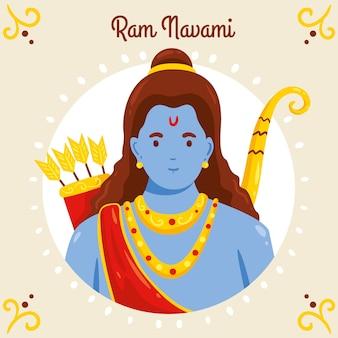 Hand-drawn happy ram navami design