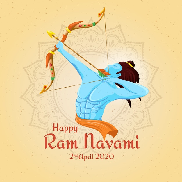 Hand-drawn happy ram navami