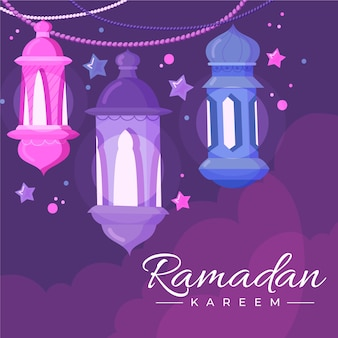 Candele e stelle felici disegnate a mano del ramadan kareem