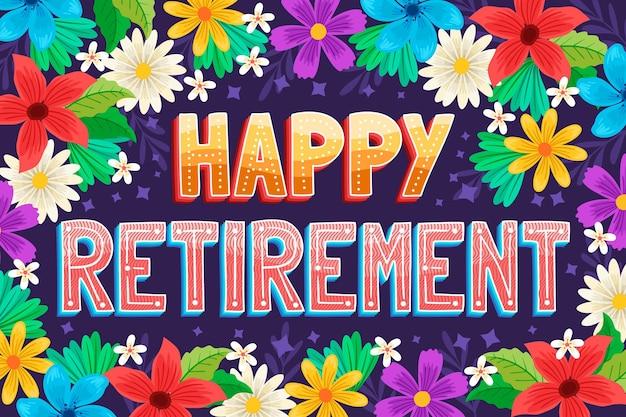 手描きの幸せな退職のレタリング