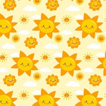 손으로 그린 된 행복 태양 패턴