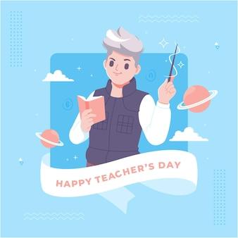 手描きの幸せな先生の日グリーティングカード