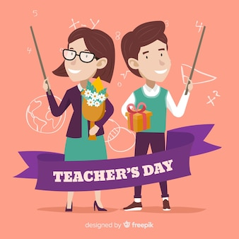 Hand drawn happy teachers on their day