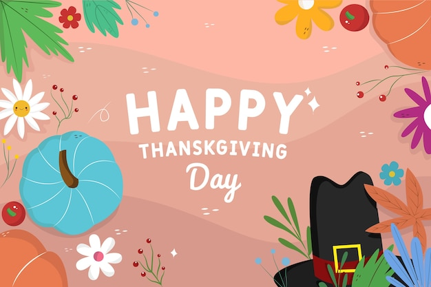 Hand drawn happy thanksgiving background