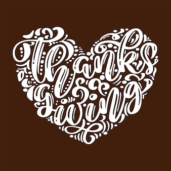 Hand drawn happy thanksgiving day typography.