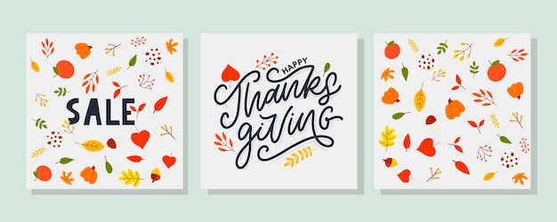 Hand drawn happy thanksgiving lettering typography poster. celebration quotation for card, postcard, event icon logo or badge. vector vintage autumn calligraphy. grey lettering with red maple leaves