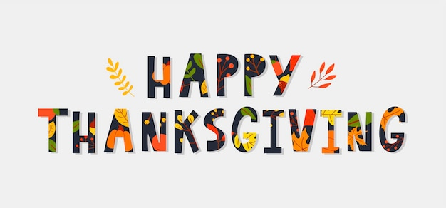 Hand drawn happy thanksgiving lettering typography poster celebration quotation for card postcard