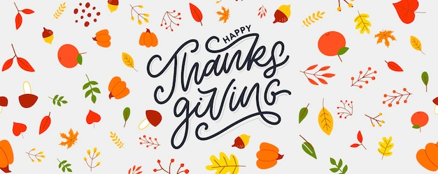Hand drawn happy thanksgiving lettering typography poster celebration quotation for card