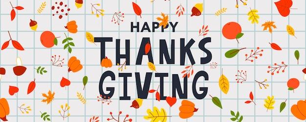 손으로 그린 해피 추수 감사절 레터링 타이포그래피 포스터입니다. 카드, 엽서, 이벤트 아이콘 로고 또는 배지에 대한 축하 인용. 벡터 빈티지 가을 서예. 붉은 단풍잎이 있는 회색 글자