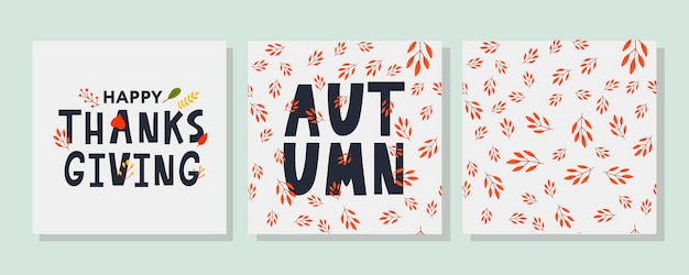Hand drawn happy thanksgiving lettering typography poster celebration