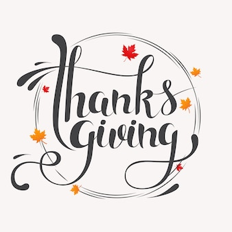 Hand drawn happy thanksgiving typography lettering