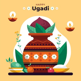 Hand drawn happyugadi illustration